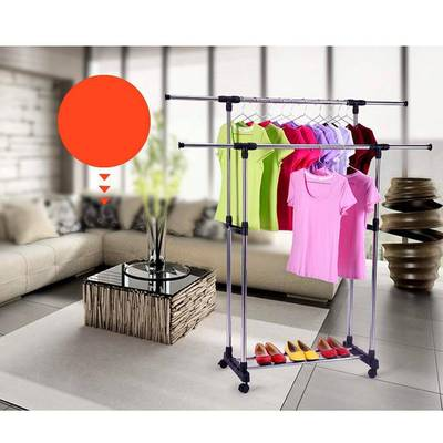 Stainless Steel Double-Pole Retractable Drying Rack 0