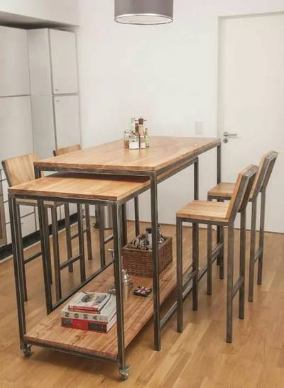 Wood iron table and chair 4