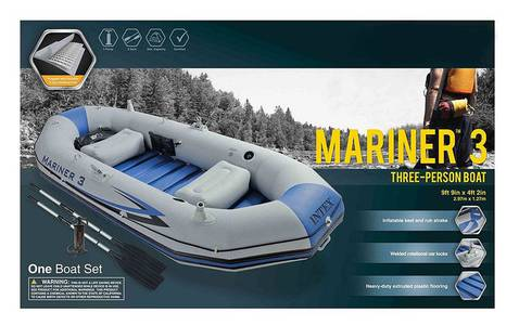 oldzon Mariner 3-Person Inflatable River/Lake Dinghy Boat 3