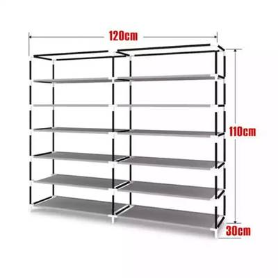 Portable Boot Rack Double Row Shoe Rack Covered with Nonwoven Fabric 2