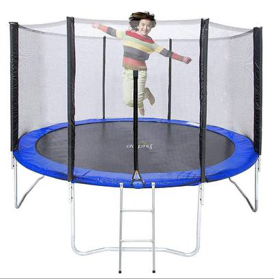 Fitness 10 feet Trampoline with Enclosure Net Exercise Trampoline 2
