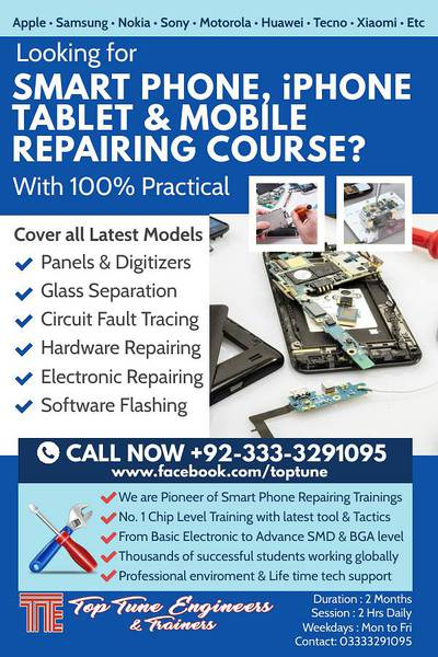 Advance Mobile / Smart Phone & I phone Repairing Course 100% Practical 0