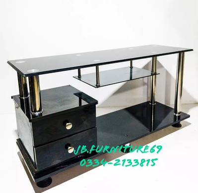 Two Drawer Wooden Laminated Sheet Led Tv Table Stand 5