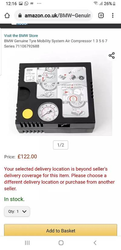 BMW Genuine tyre inflator air compressor pump in brand new condition 4