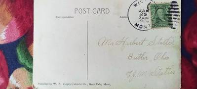 Antique postcards with USA stamps 0