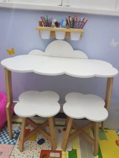 Solid wood table chair set 0