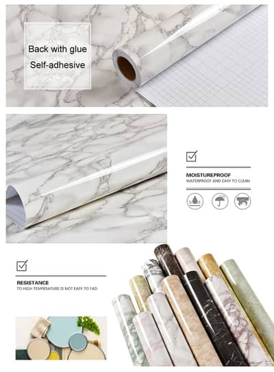 Gym Counter Marble Sheet Kitchen Sticker Home Wall Paper Waterproof 4