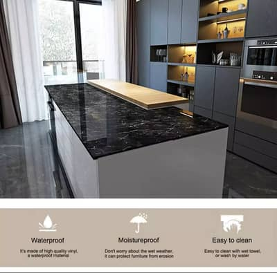 Gym Counter Marble Sheet Kitchen Sticker Home Wall Paper Waterproof 12