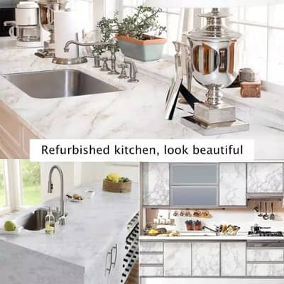 Gym Counter Marble Sheet Kitchen Sticker Home Wall Paper Waterproof 15