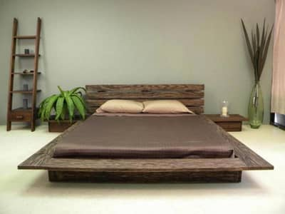 low profile bed made of ash wood vineer queen size 2